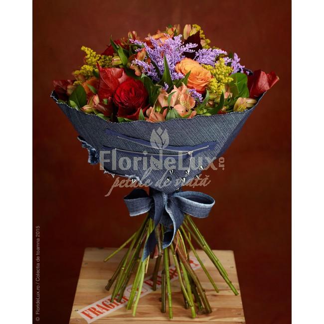 Flori Sfanta Maria - 8 septembrie, buchet in blugi