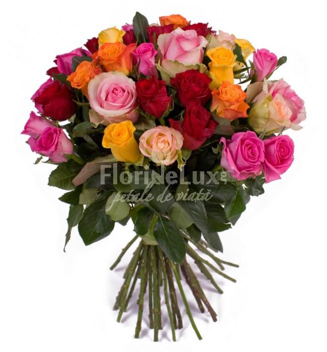 buchete trandafiri multicolori