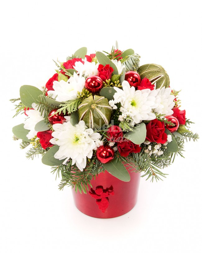 Aranjament Craciun crizanteme si minirosa  https://www.floridelux.ro/aranjament-craciun-crizanteme-si-minirosa.html