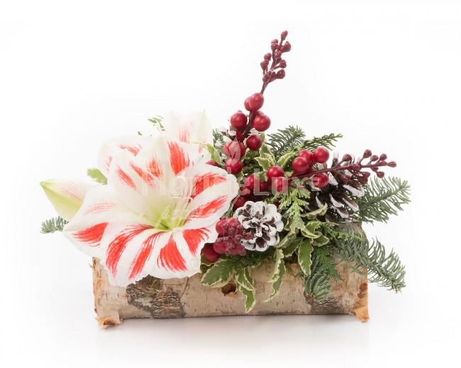 Aranjament Craciun Buturuga cu flori de Craciun  https://www.floridelux.ro/buturuga-cu-flori-de-craciun.html
