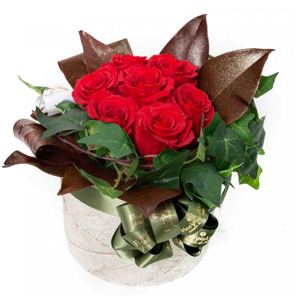 Flori pentru Sfantul Andrei - idei 2020, aranjament floral trandafiri criogenati, doar 339.99 RON!