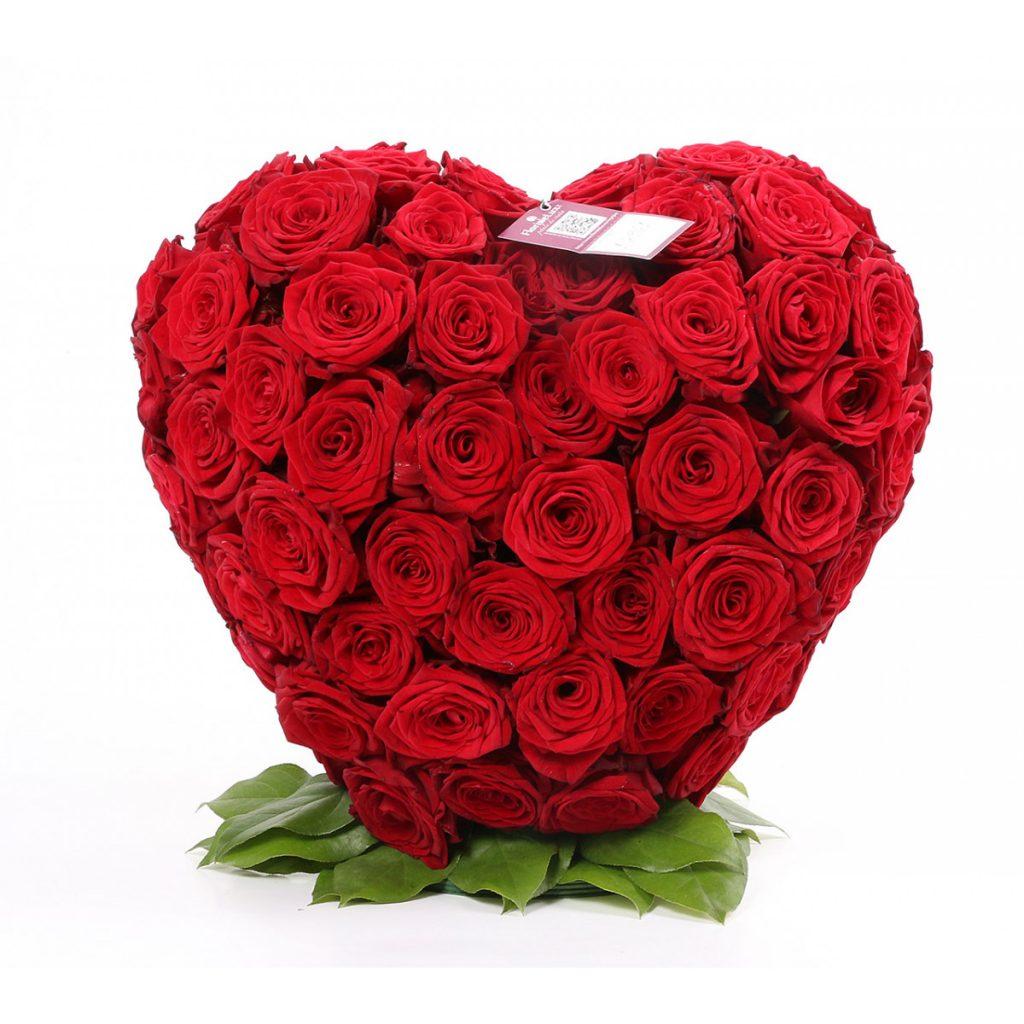 *Mesaje de ziua îndrăgostiților pentru soție, Aranjament inimă din trandafiri