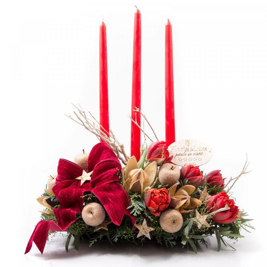 Idei pentru masa de Crăciun 2020, Aranjament floral de Crăciun, doar 263,99 RON!