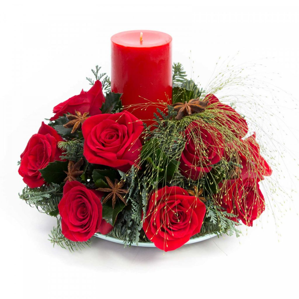 Idei pentru masa de Crăciun 2020, Flori Craciun trandafiri rosii, doar 199,99 RON!