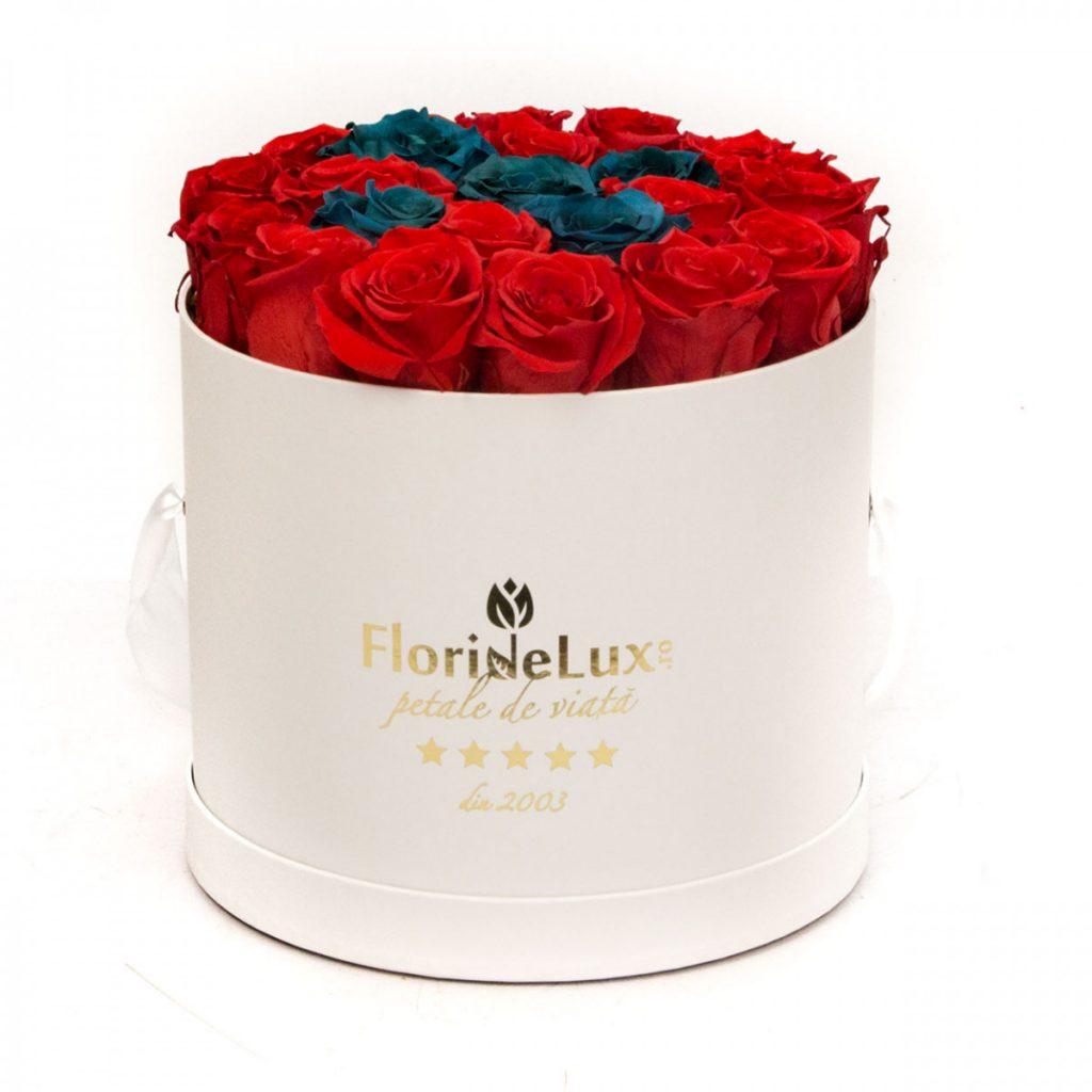 Trandafiri criogenați cutie albă elegantă, doar 1.506,99 RON!