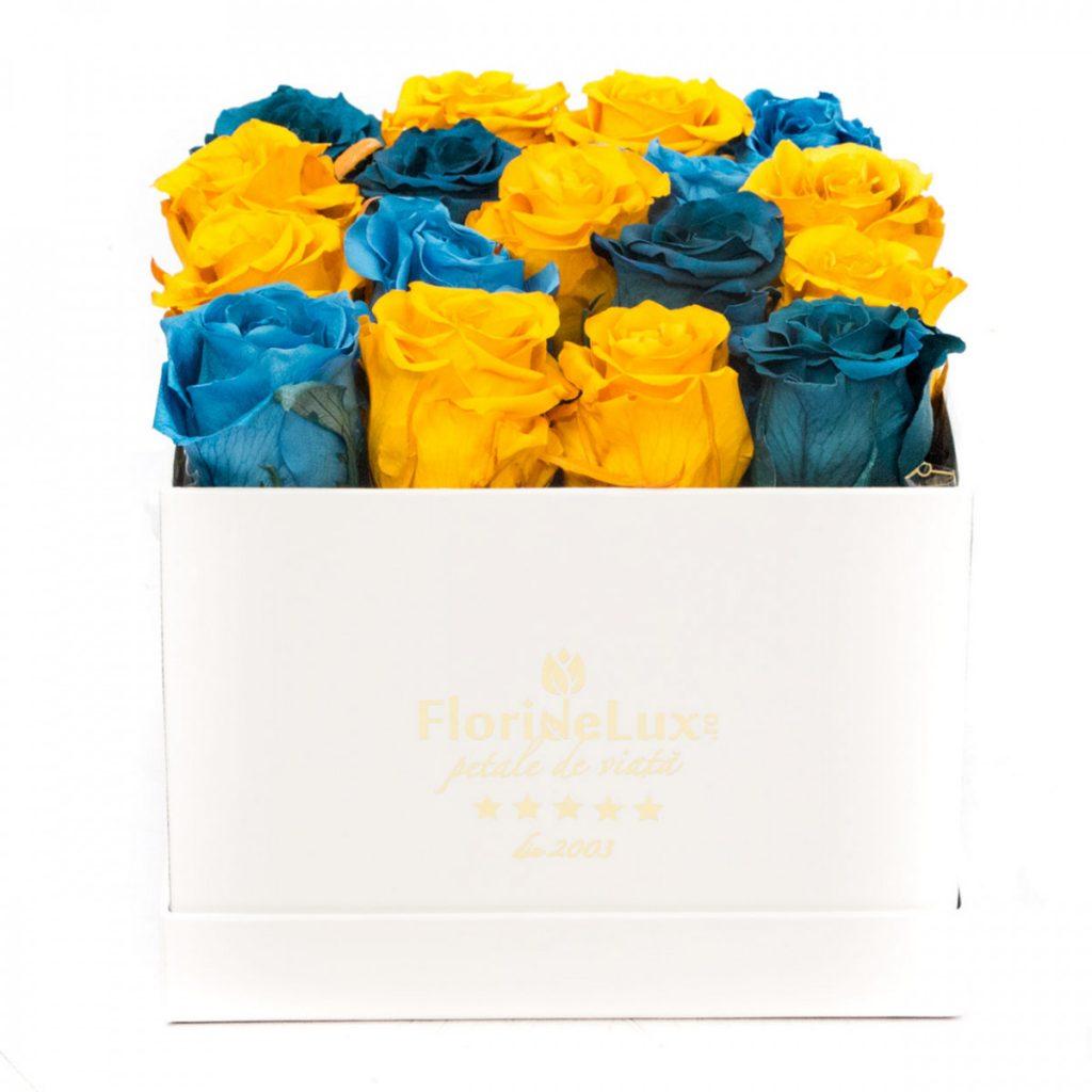Trandafiri conservați în cutie de lux pătrată, doar 659,99 RON
