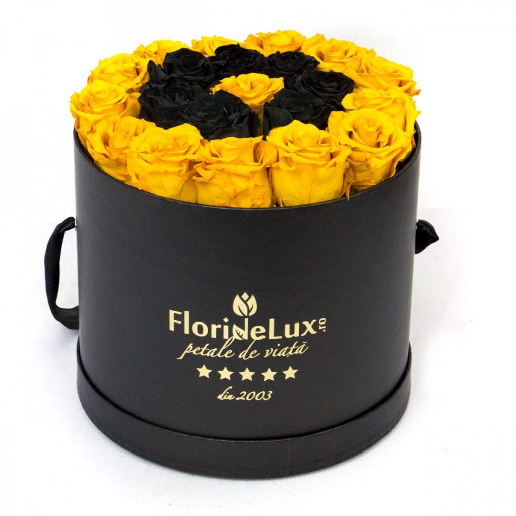 Trandafiri conservați negri și galbeni, doar 1.384,99 RON