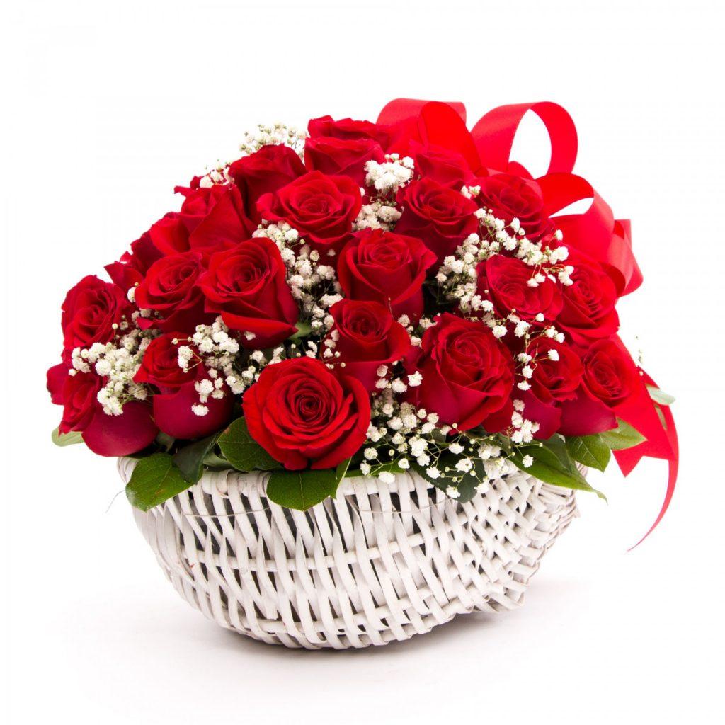 Cos trandafiri rosii, doar 399 RON