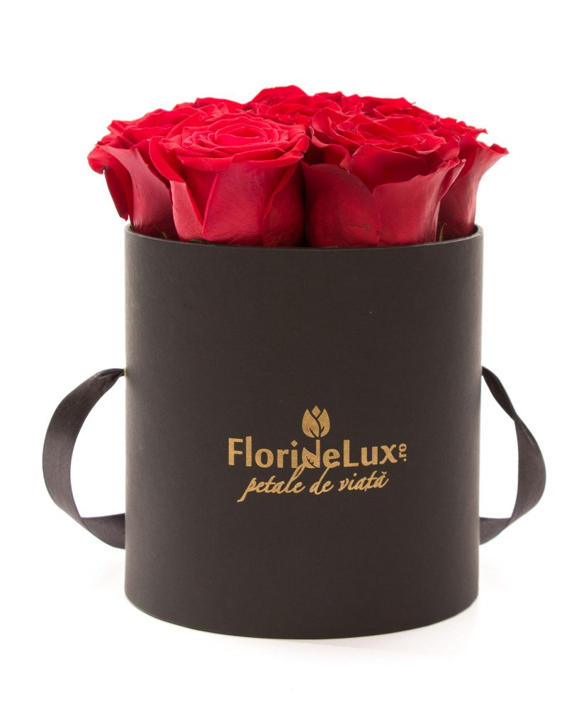 Cutie 9 trandafiri rosii, doar 199 RON
